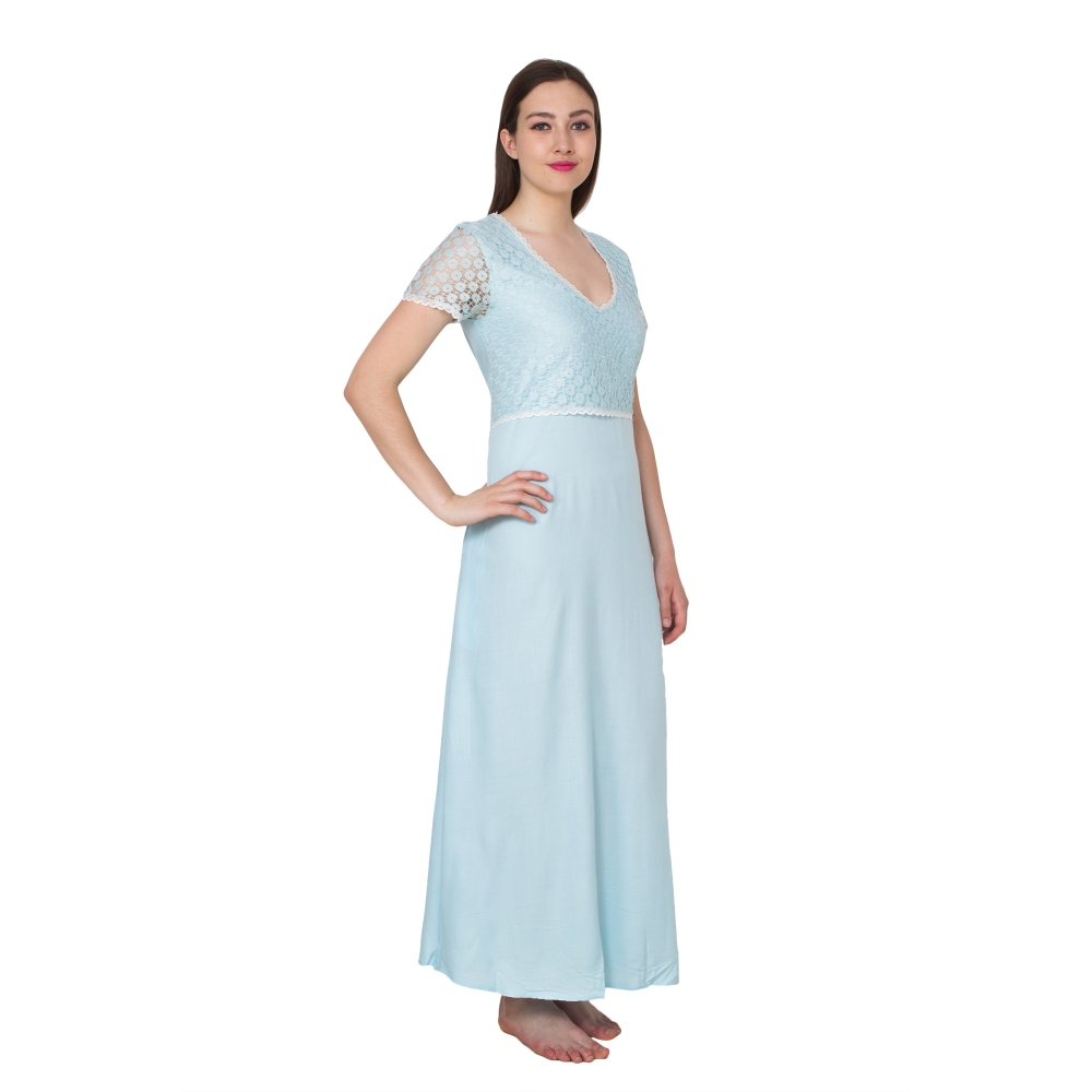 Lace Embellished Blouson Maxi Night-Gown Nighty in Light Blue