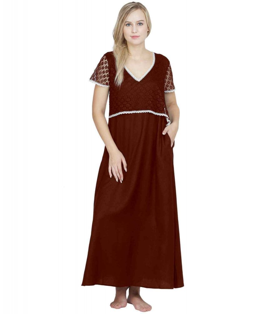 Lace Embellished Blouson Maxi Night-Gown Nighty in Maroon