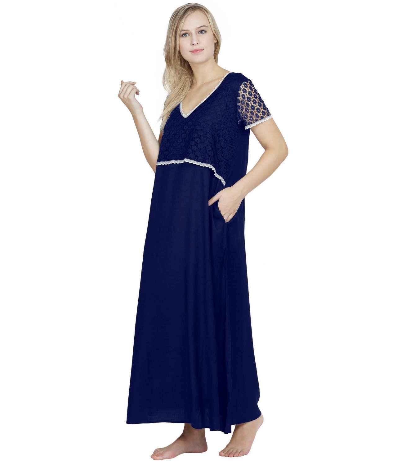 Lace Embellished Blouson Maxi Night-Gown Nighty in Royal Blue