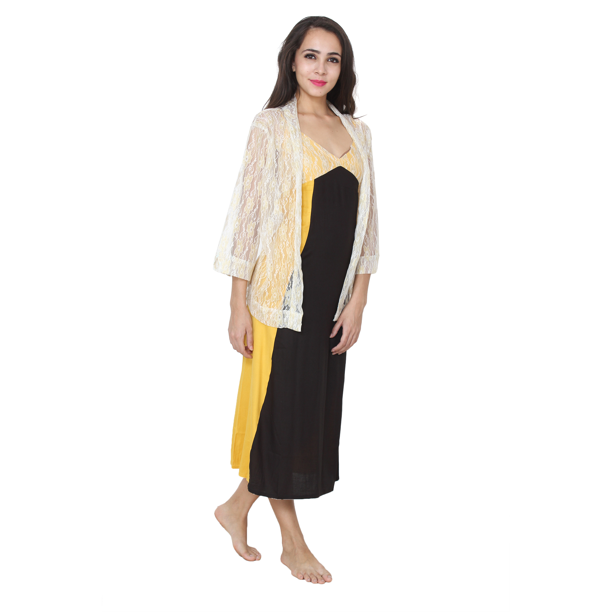 Lace Embellished Blouson Nighty with Shrug in Mustard