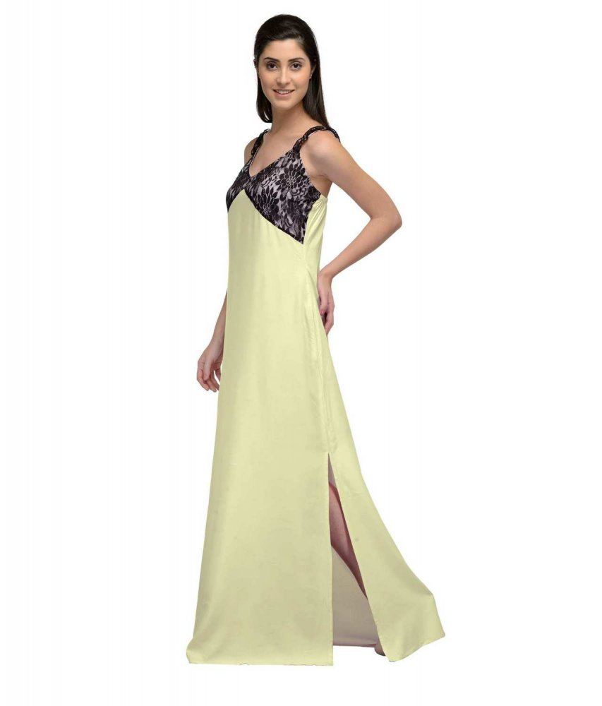 Lace Embellished Empire Maxi Gown Dress in Black:Cream