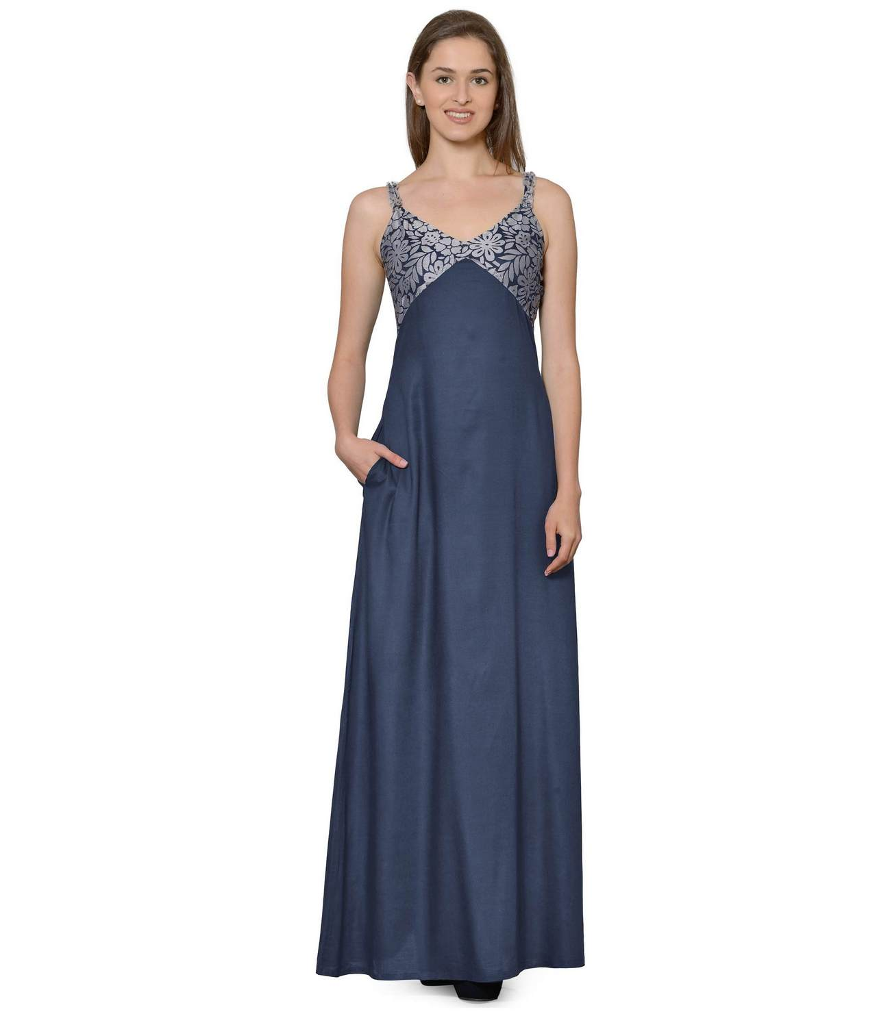 Lace Embellished Empire Maxi Gown Dress in Grey