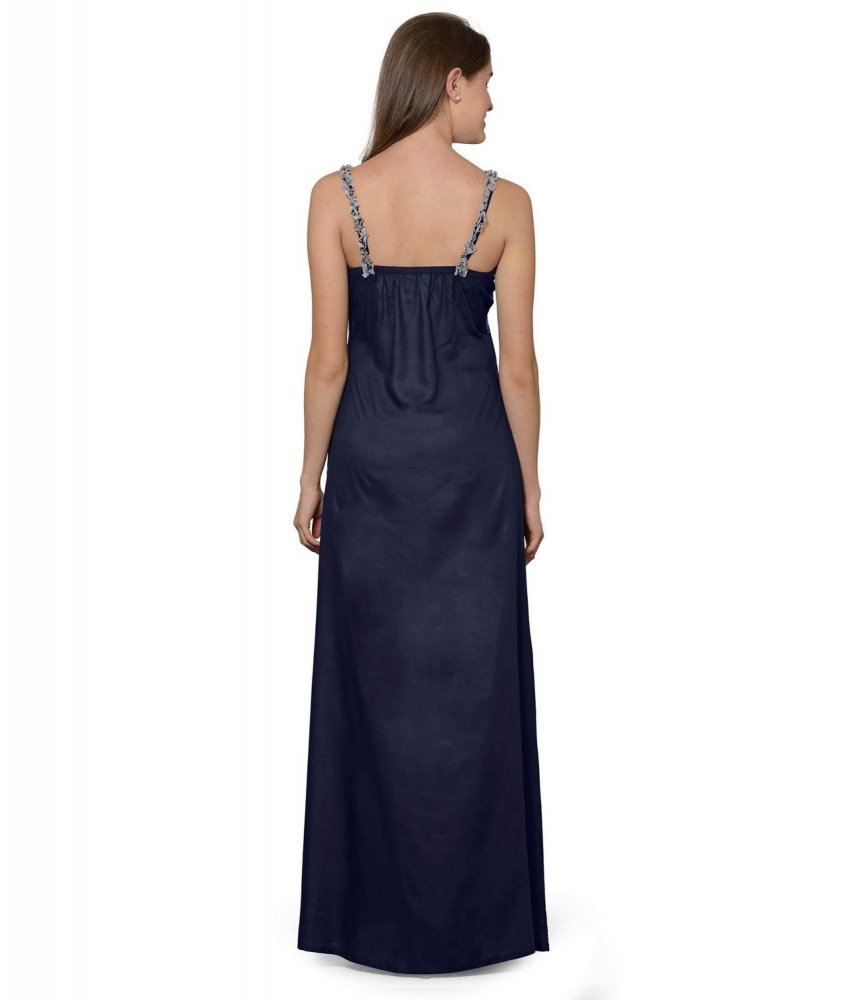 Lace Embellished Empire Maxi Gown Dress in Grey:Dark Blue