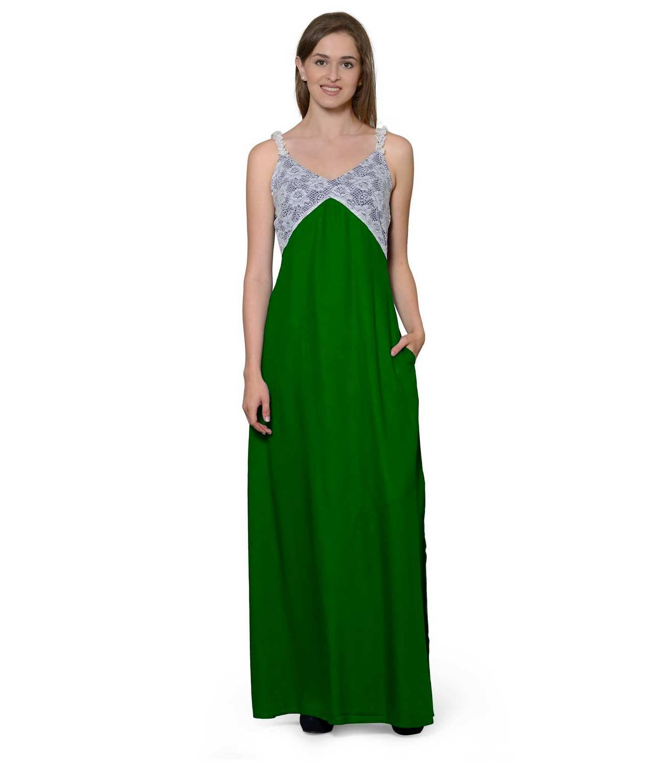Lace Embellished Empire Maxi Gown Dress in White:Bottle Green