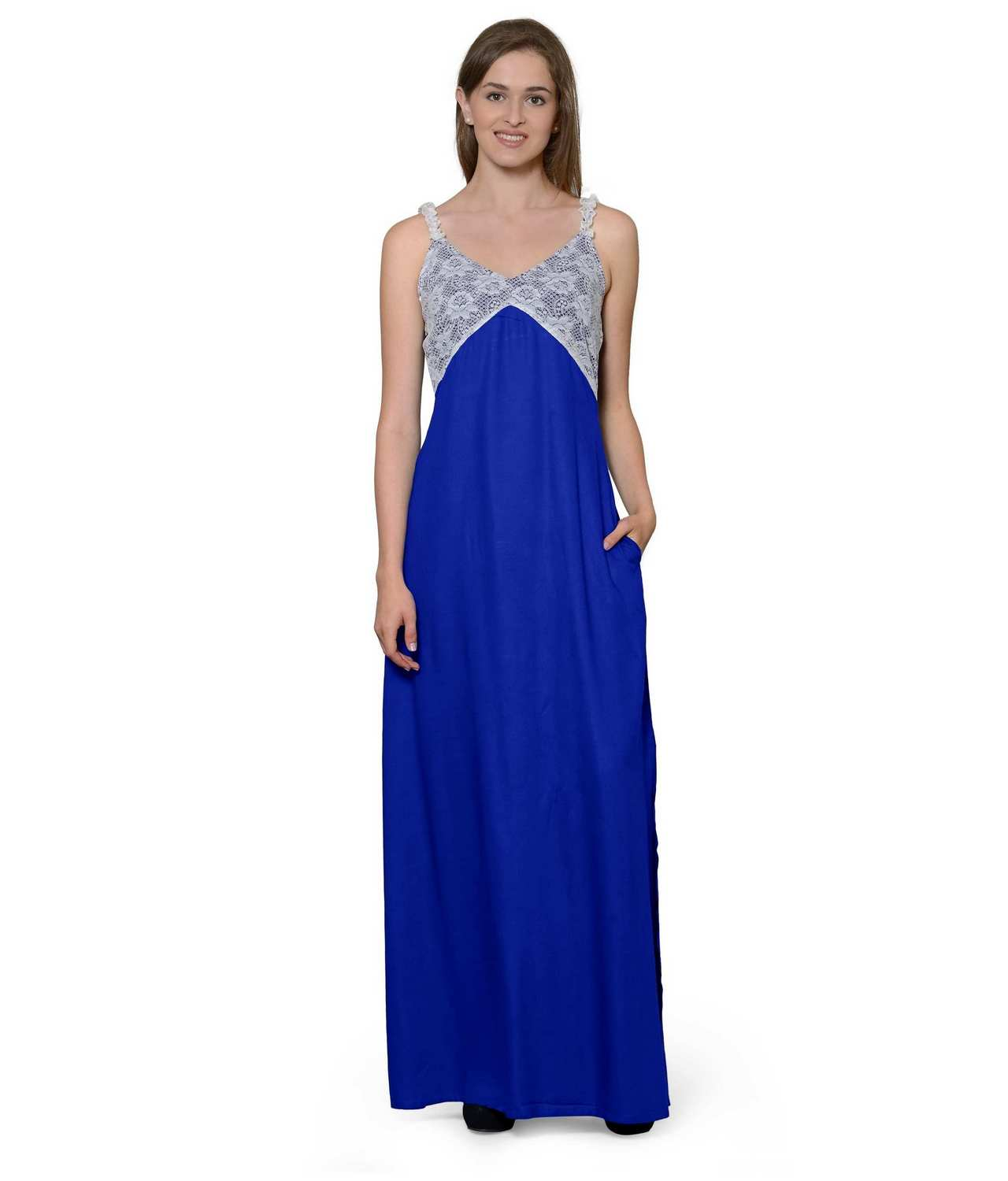Lace Embellished Empire Maxi Gown Dress in White:Royal Blue