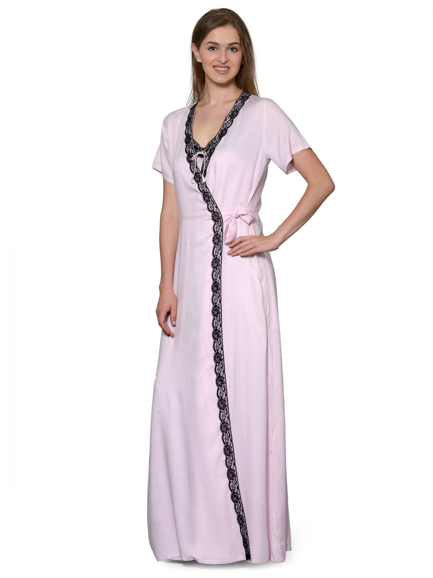 Lace Embellished Nighty With Robe in Baby Pink
