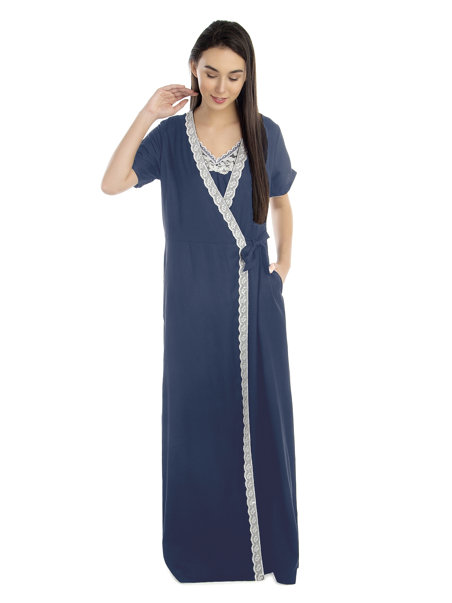 Lace Embellished Nighty With Robe in Charcoal Grey