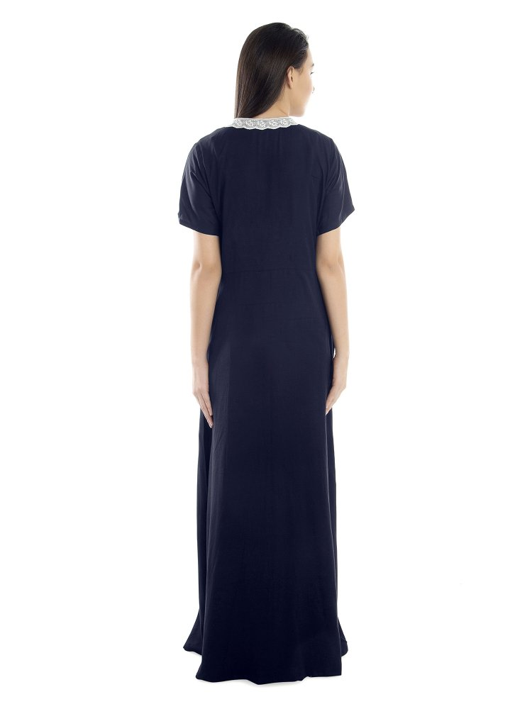 Lace Embellished Nighty With Robe in Dark Blue