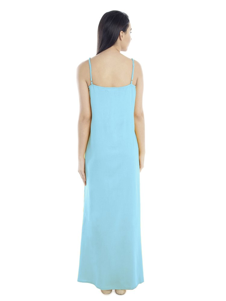 Lace Embellished Nighty With Robe in Light Blue