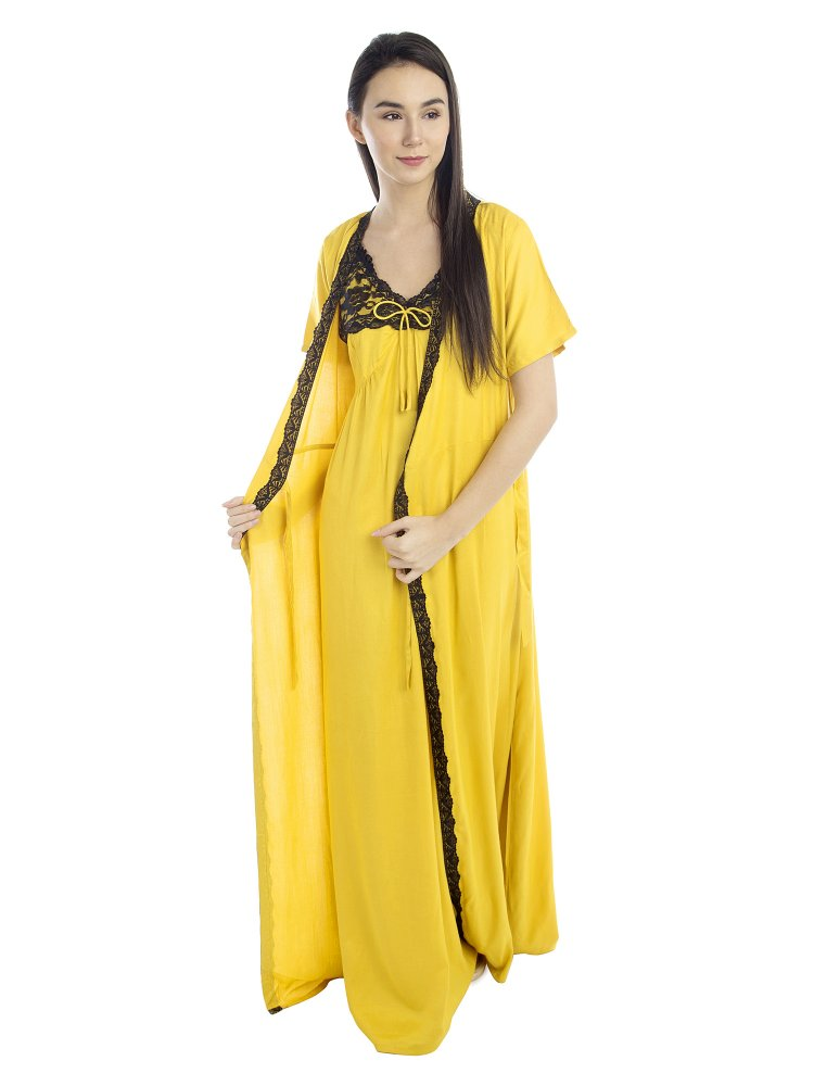 Lace Embellished Nighty With Robe in Mustard