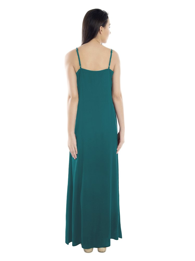 Lace Embellished Nighty With Robe in Rama Green