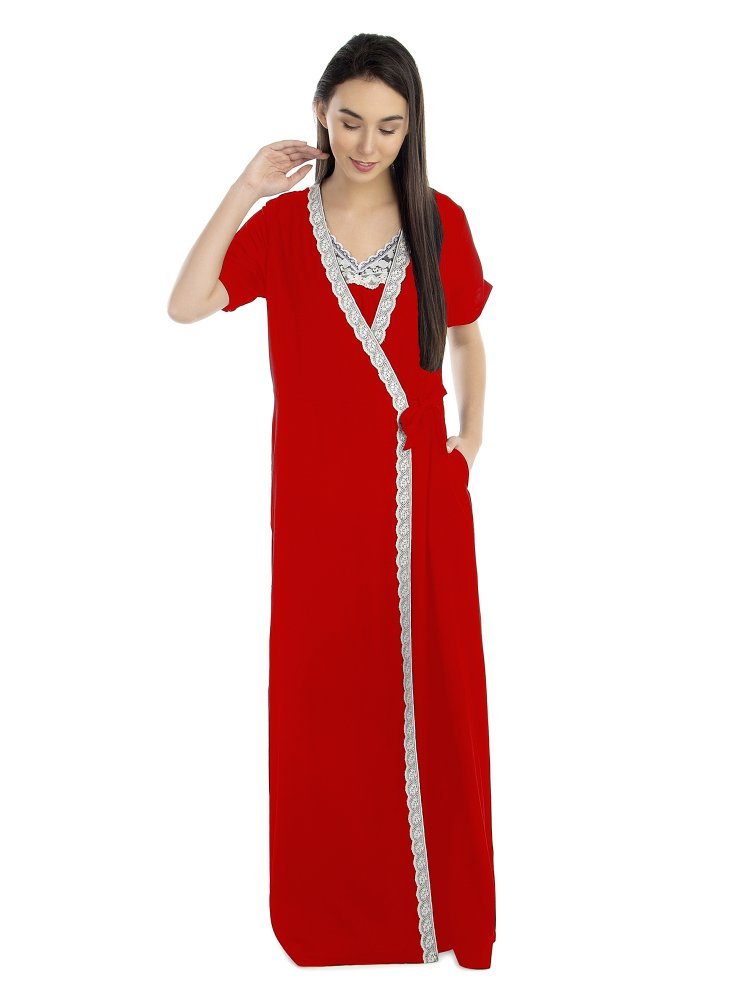 Lace Embellished Nighty With Robe in Red