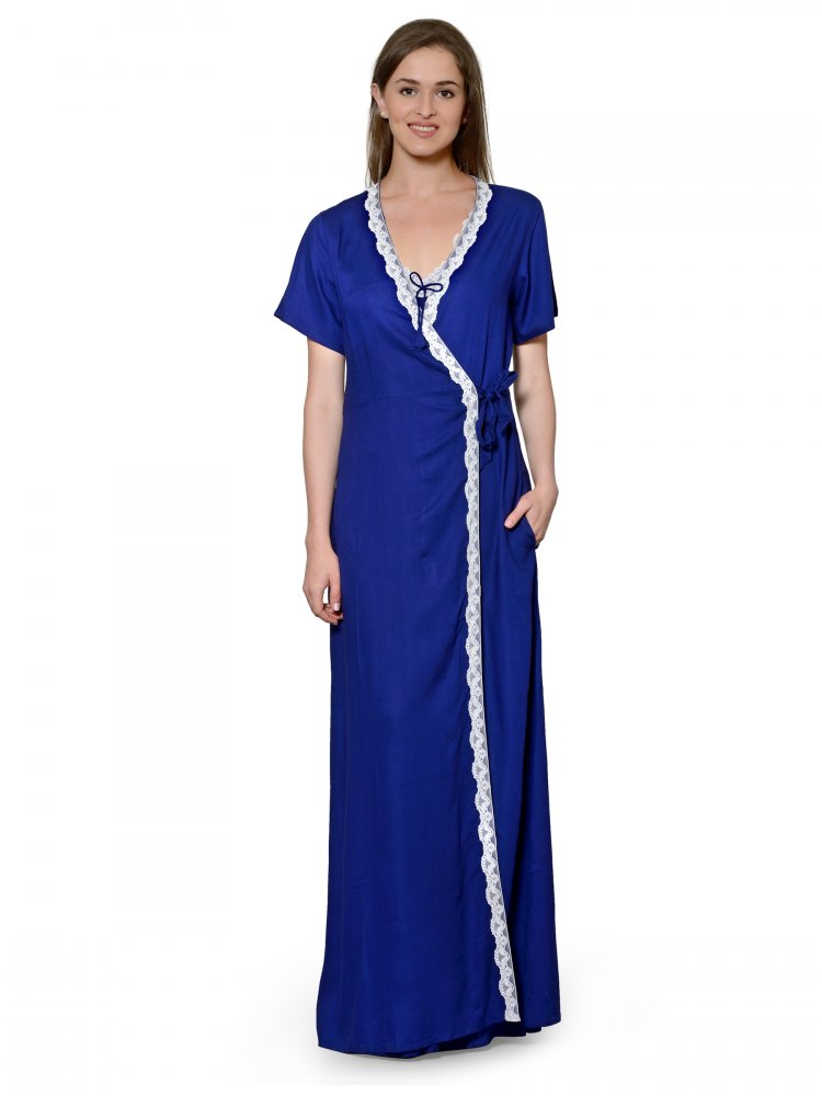 Lace Embellished Nighty With Robe in Royal Blue