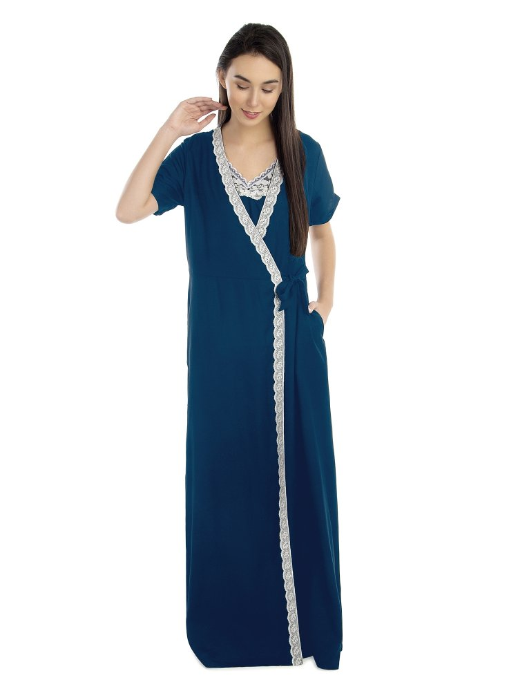 Lace Embellished Nighty With Robe in Sky Blue