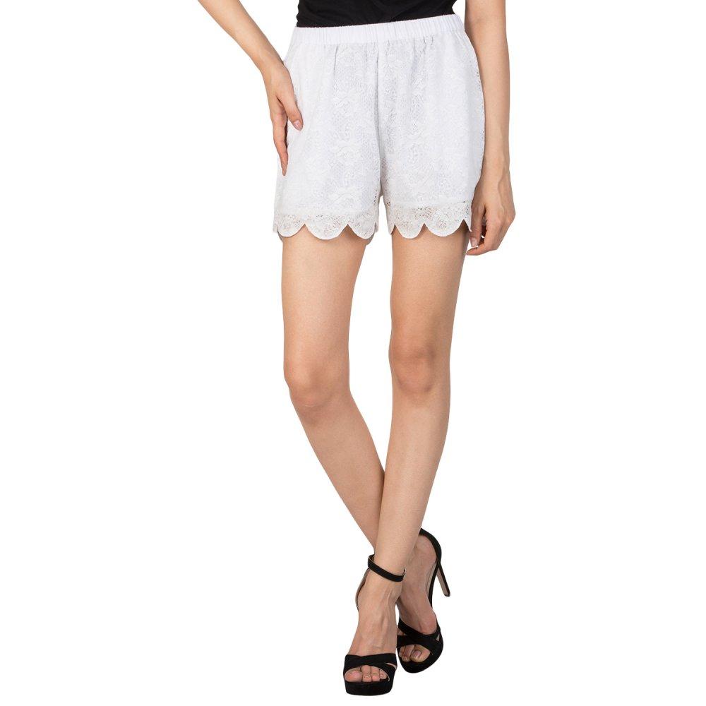 Lace Work Boyfriend Shorts in White
