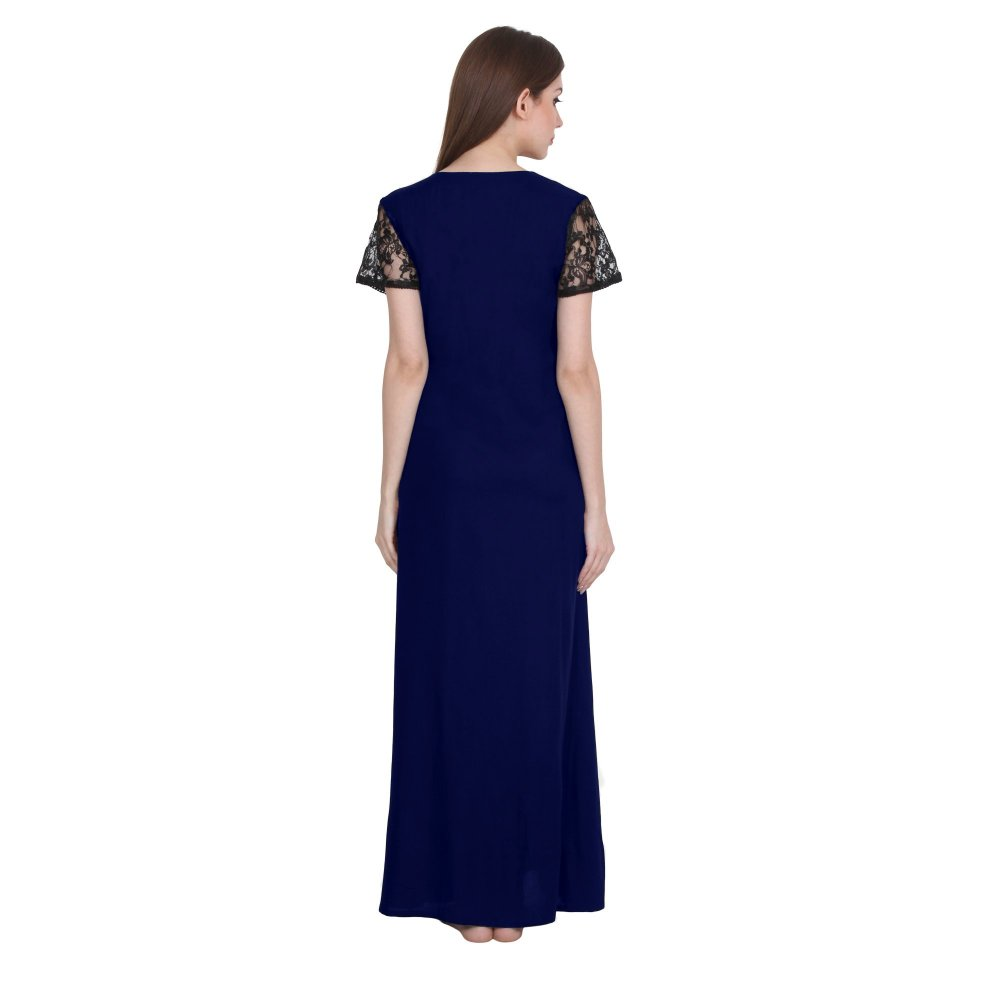 Lace Work Maxi Length Nighty in Royal Blue