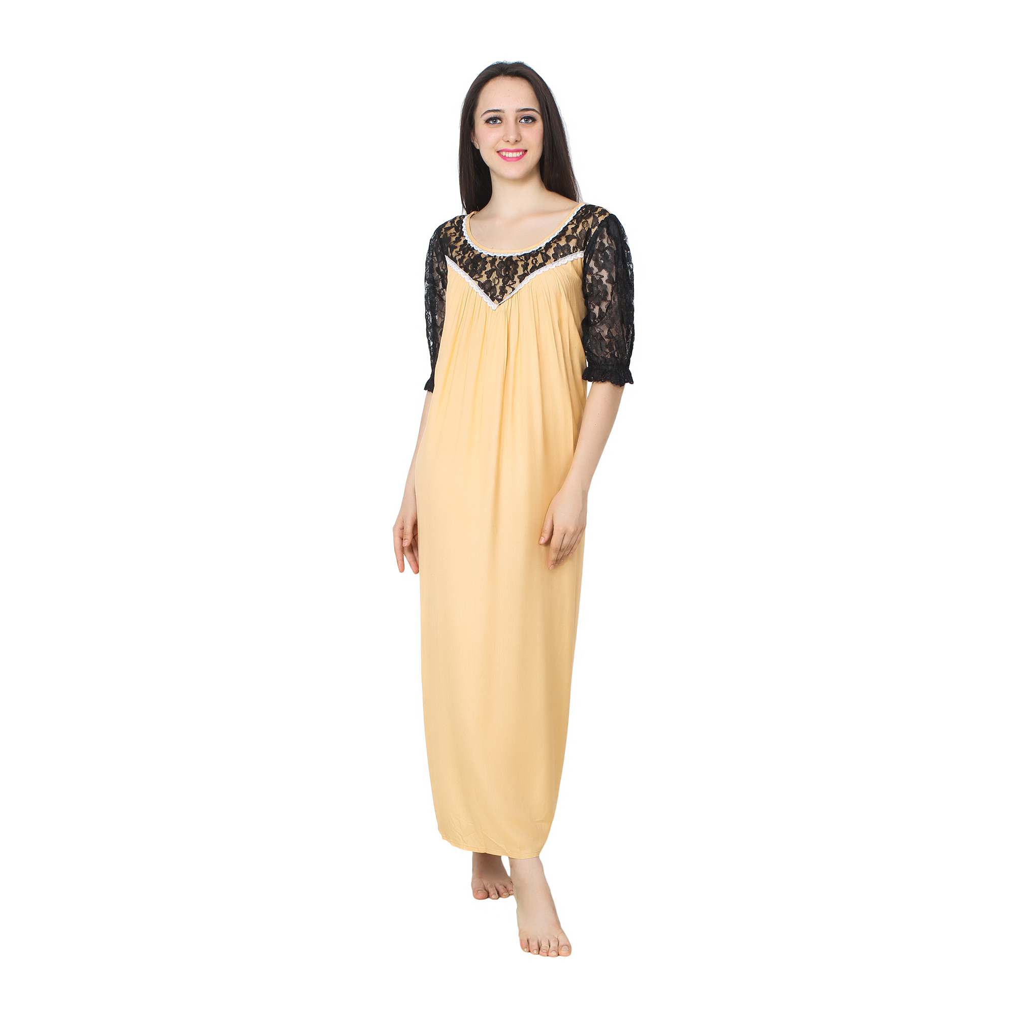 Lace Work Neck and Sleeve A-Line Maxi Nighty in Gold