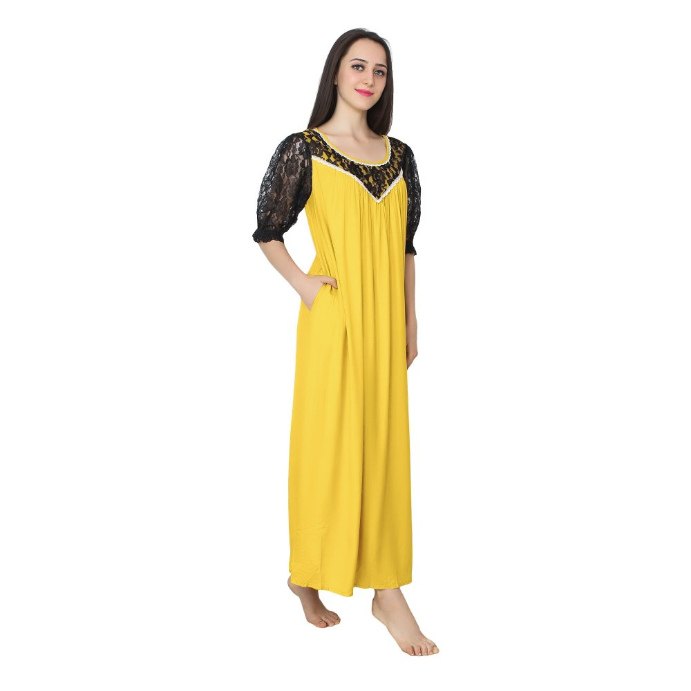Lace Work Neck and Sleeve A-Line Maxi Nighty in Mustard