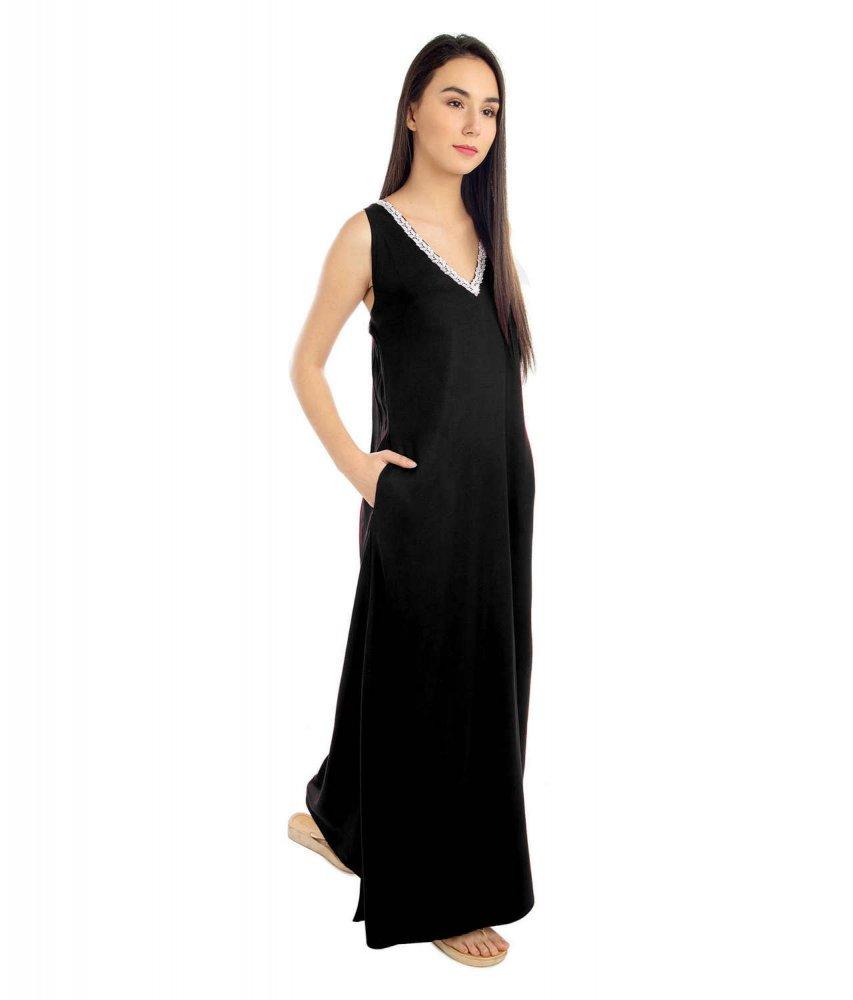 Lace Work Neckline Shift Maxi Nighty in Black