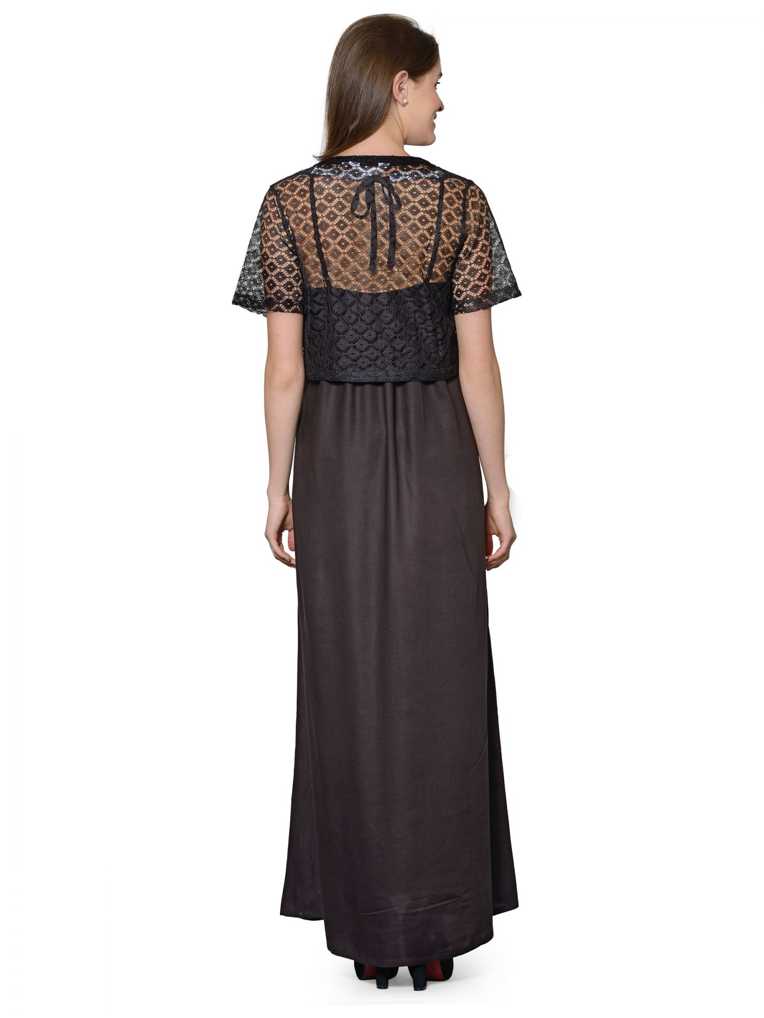 Lace Work Nighty with Shrug in Black