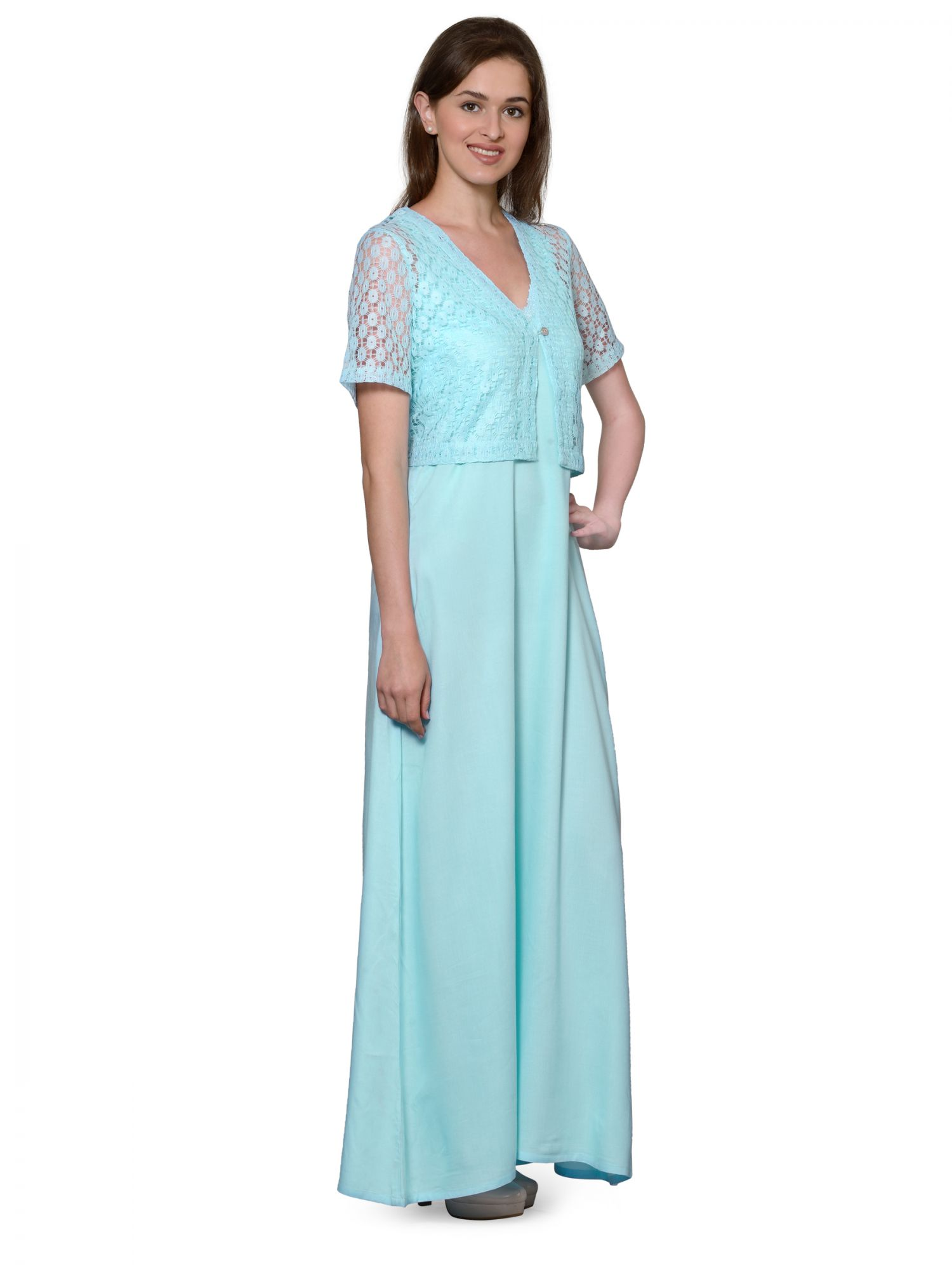 Lace Work Nighty with Shrug in Light Blue