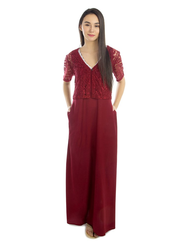 Lace Work Nighty with Shrug in Maroon