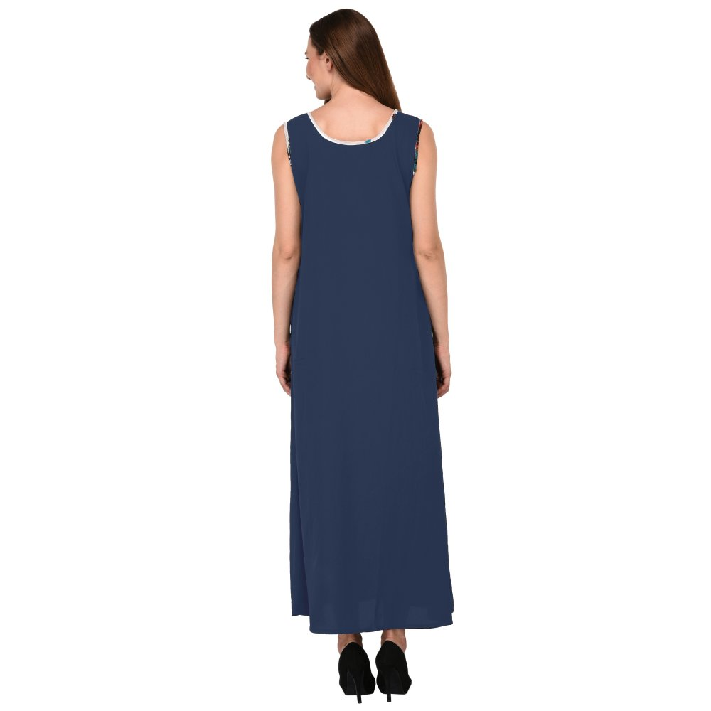 Loose Cut Pleated A-Line Maxi Nighty in Charcoal Grey