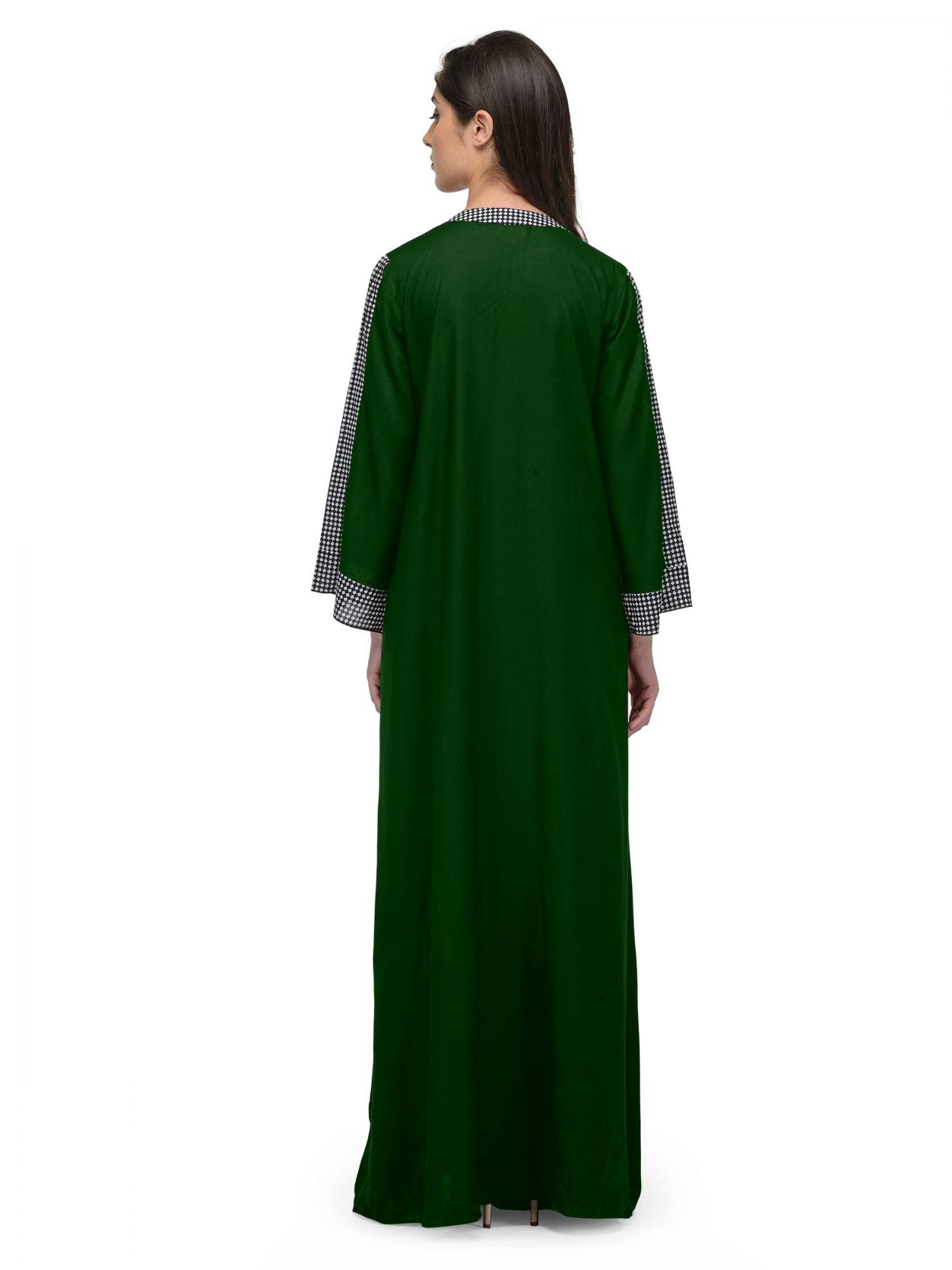Loose Cut Wrap Nighty Nightgown in Bottle Green