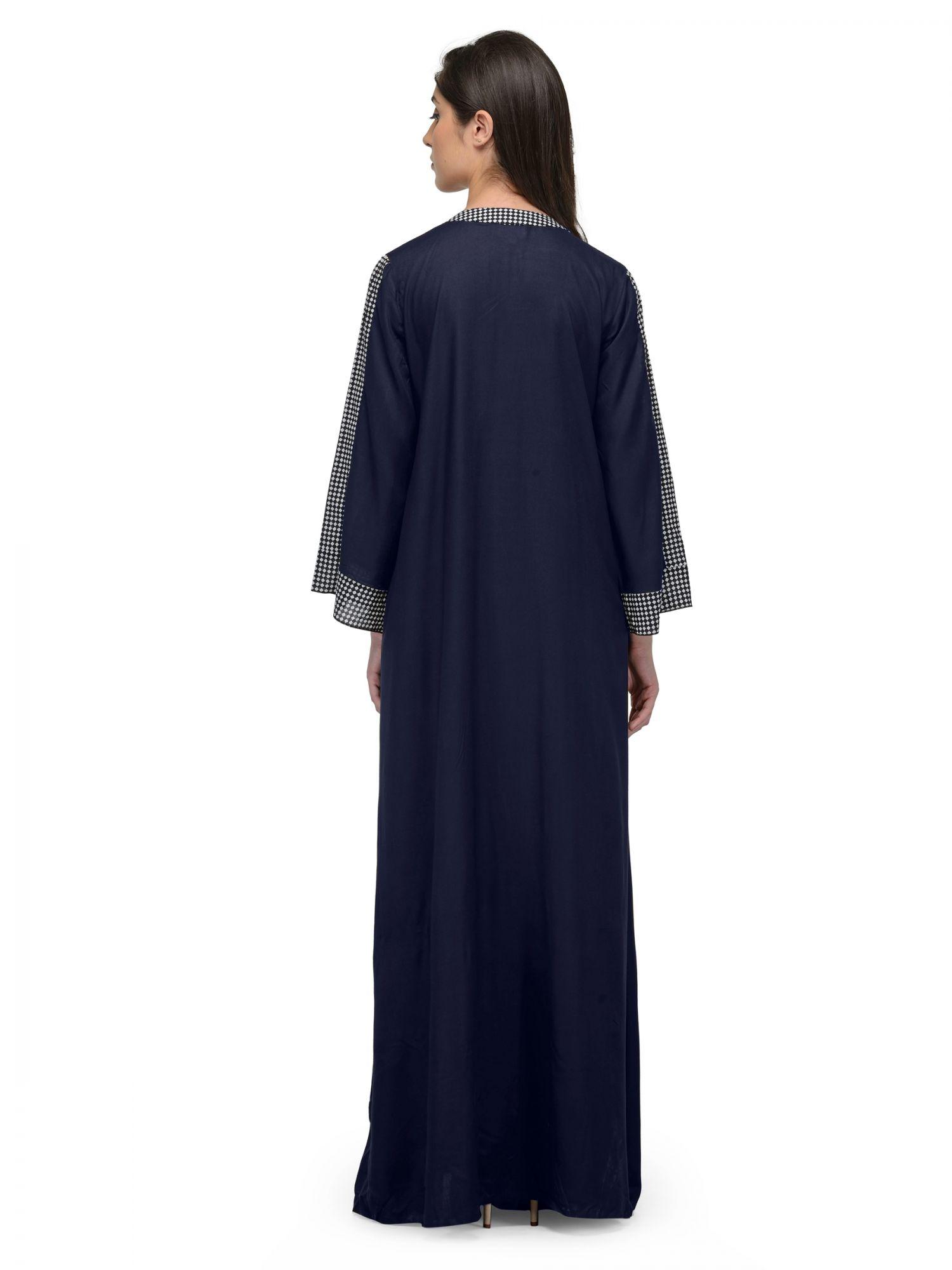 Loose Cut Wrap Nighty Nightgown in Dark Blue