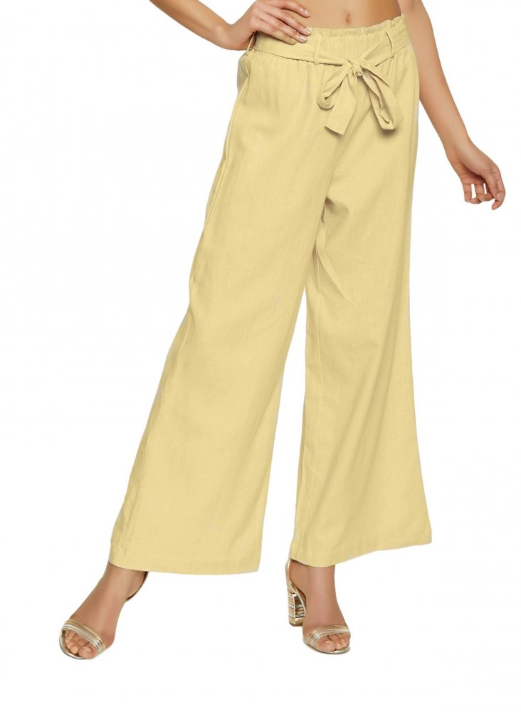 Loose Fit Paperbag Waist Culottes Trousers in Gold