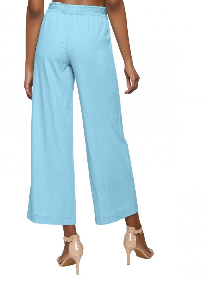 Loose Fit Paperbag Waist Culottes Trousers in Light Blue