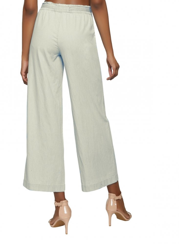 Loose Fit Paperbag Waist Culottes Trousers in Off-White