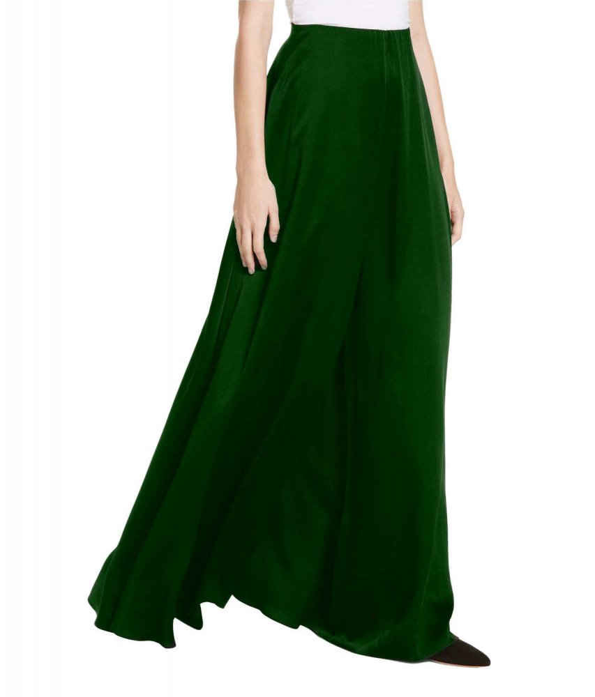 Loose Fit Wide Leg Palazzo Pant in Bottle Green