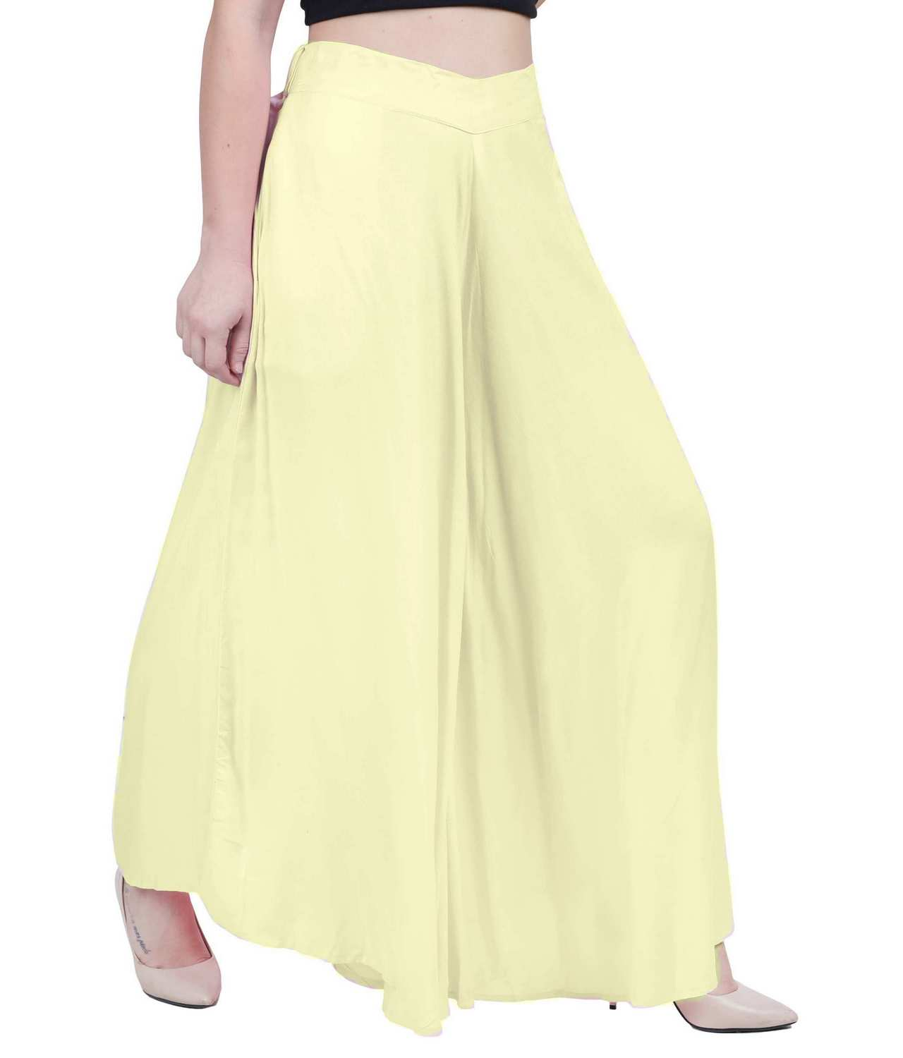 Loose Fit Wide Leg Palazzo Pant in Cream