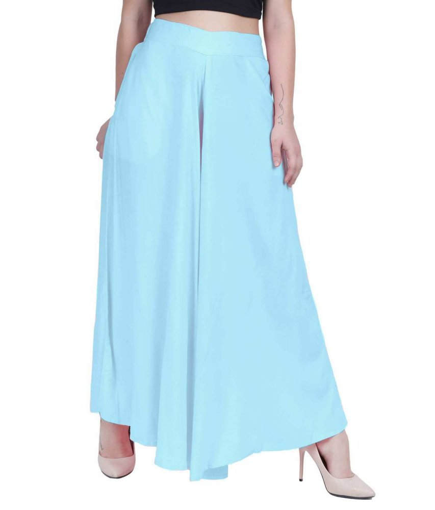 Loose Fit Wide Leg Palazzo Pant in Light Blue
