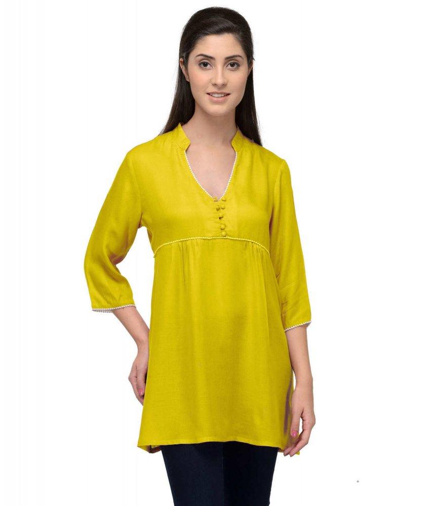 Mandrain Collar Tunic Top in Yellow