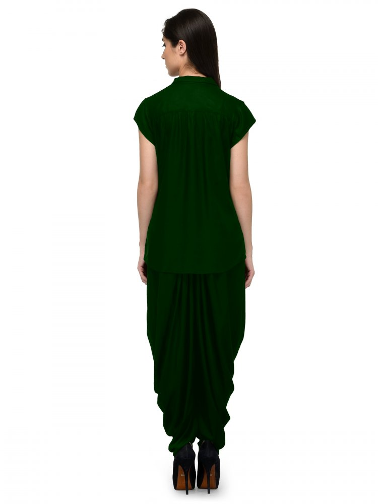 Nightshirt and Dhoti Pant Set in Bottle Green