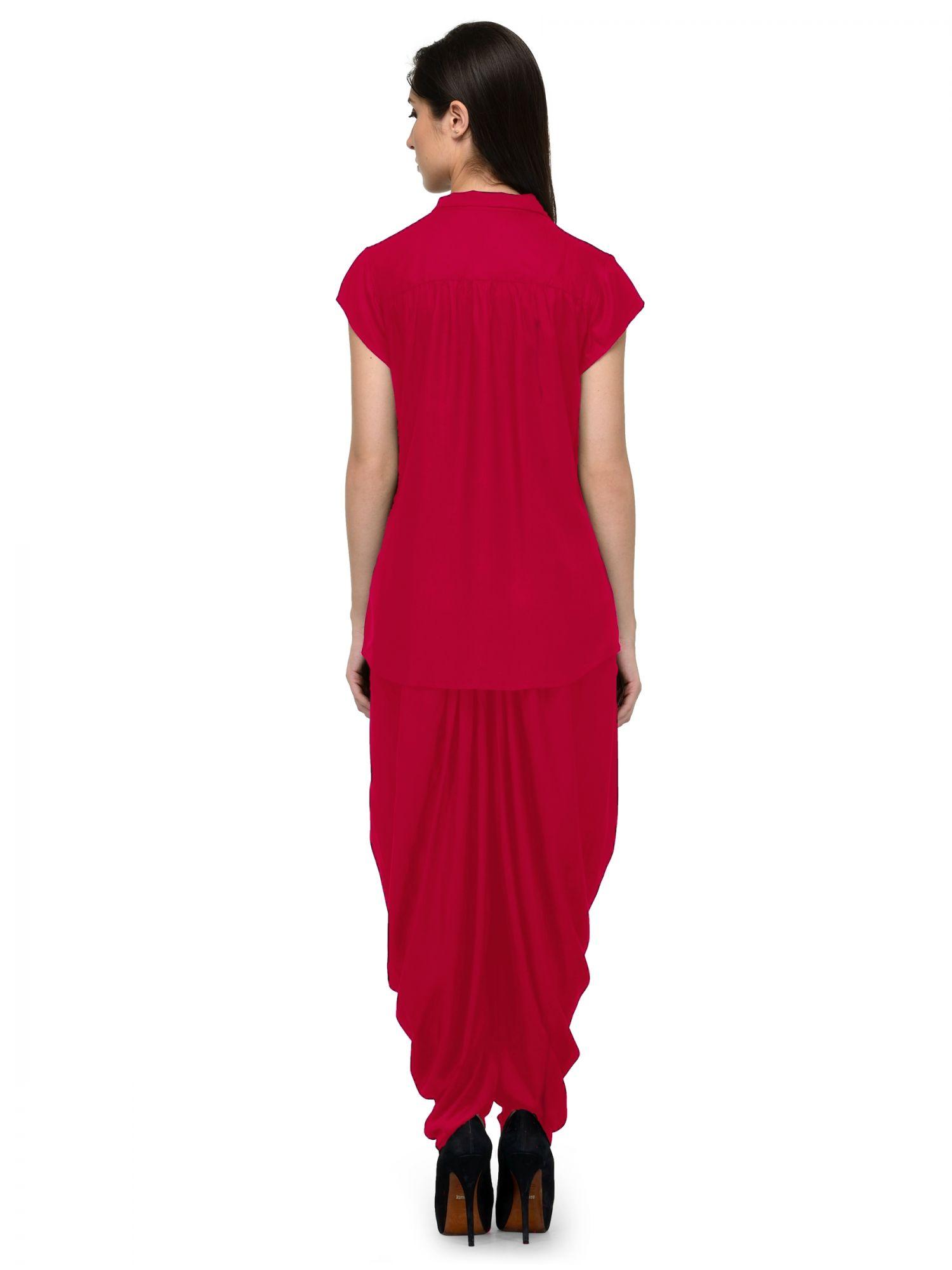 Nightshirt and Dhoti Pant Set in Fuchsia