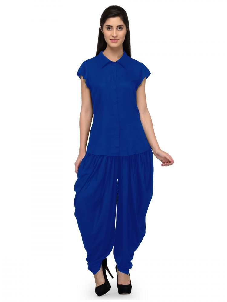 Nightshirt and Dhoti Pant Set in Turquoise Blue
