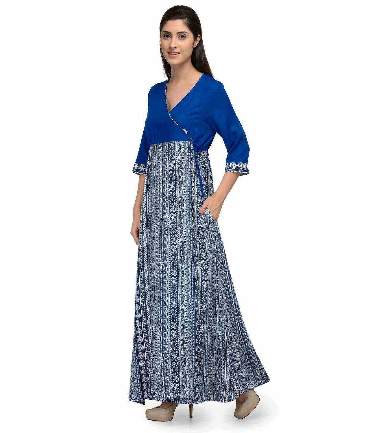 Paisley Print Wrap Style Maxi Nighty in Turquoise:Print