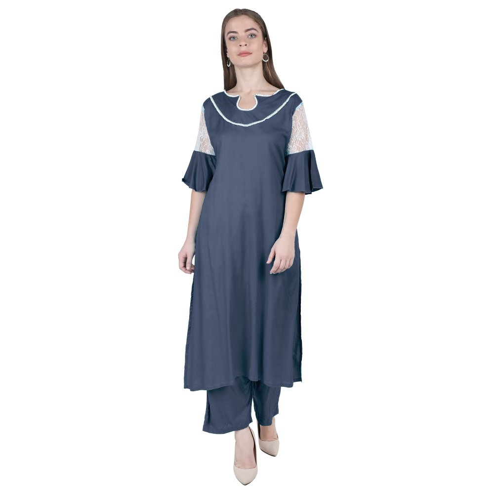 Panelled Embellished Long Kurti in Charcoal Grey