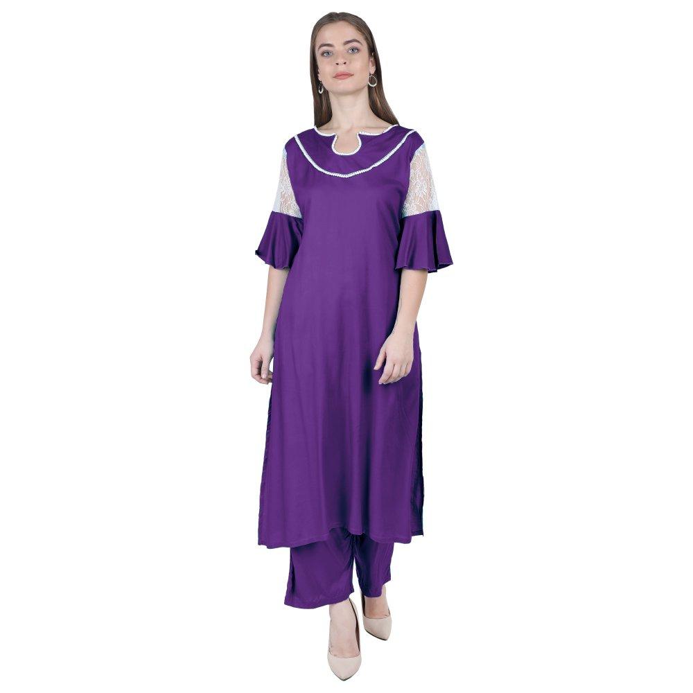 Panelled Embellished Long Kurti in Purple