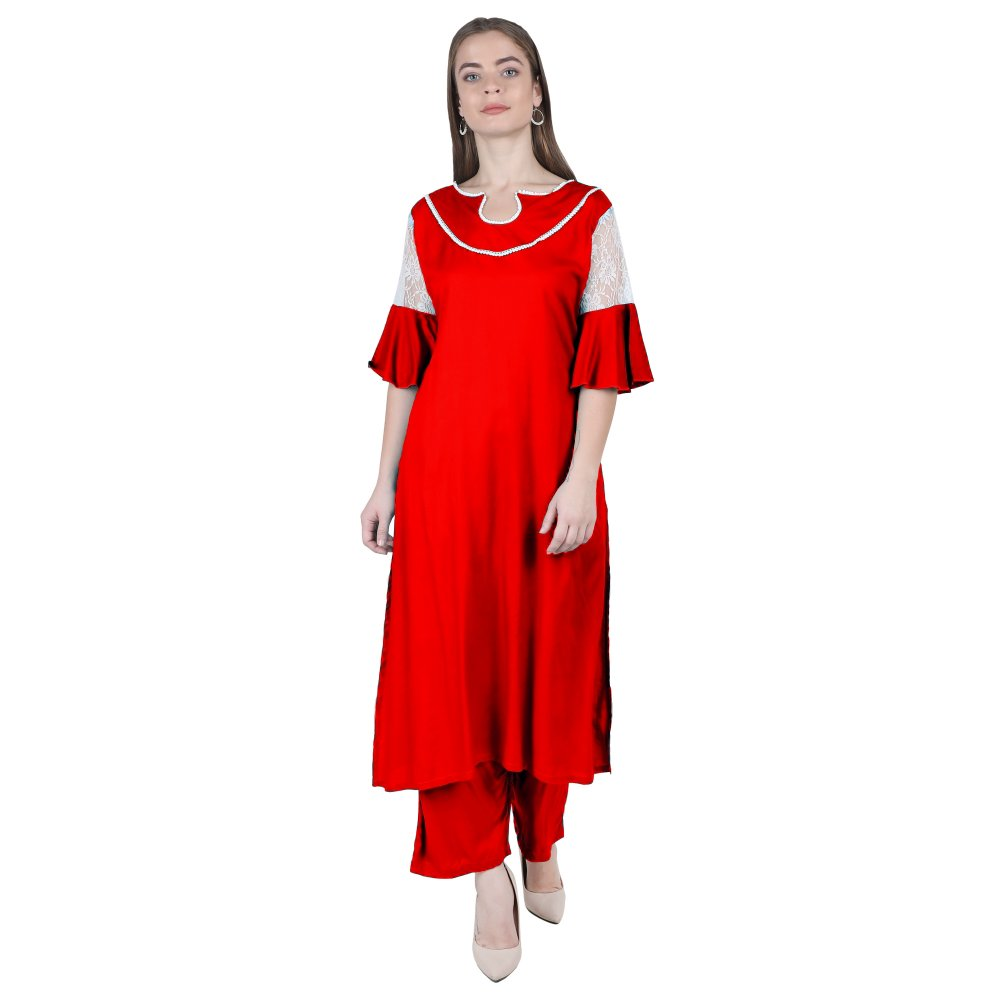 Panelled Embellished Long Kurti in Red