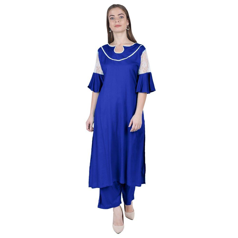 Panelled Embellished Long Kurti in Royal Blue