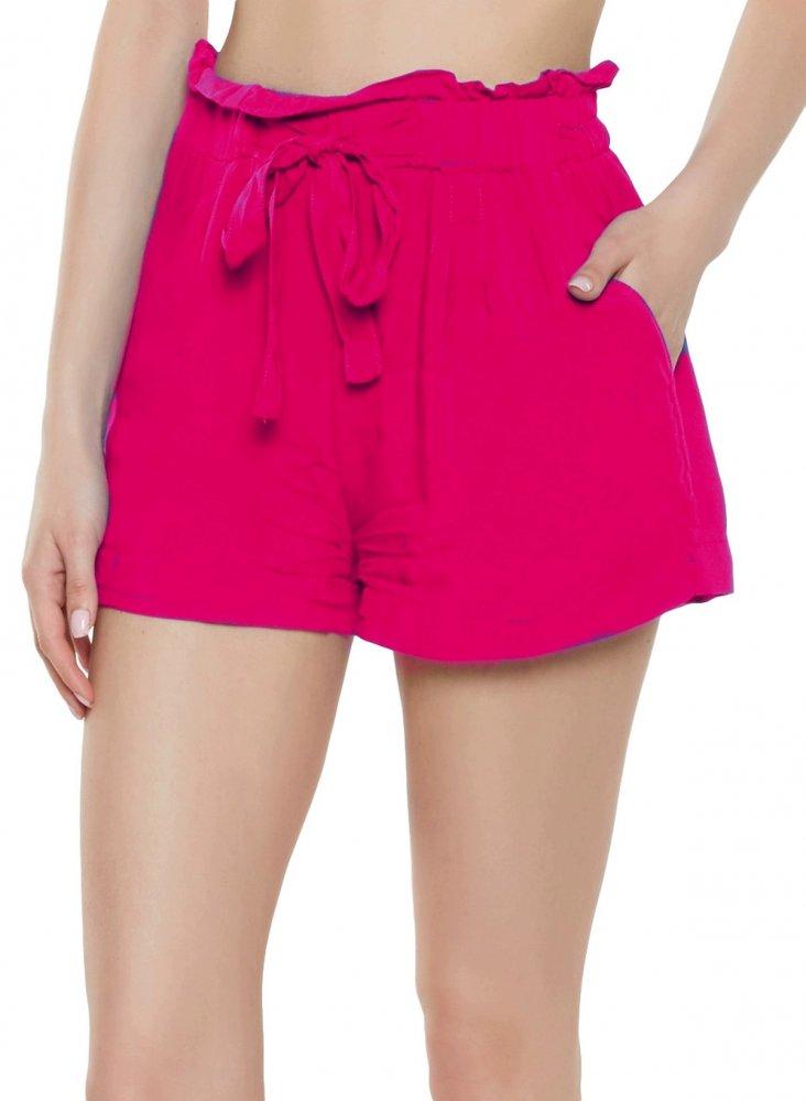 Paperbag Waist Boyfriend Shorts in Fuchsia
