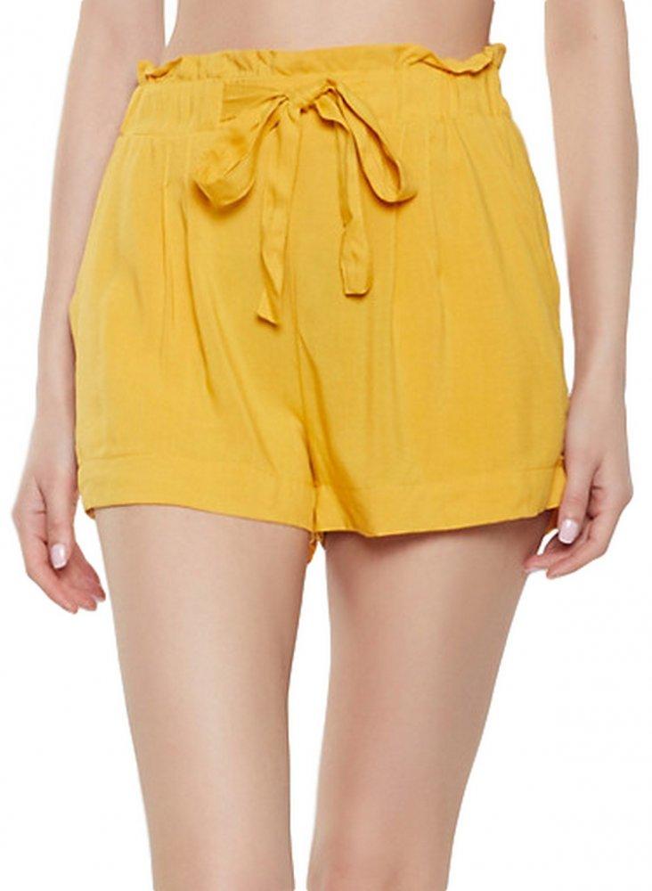 Paperbag Waist Boyfriend Shorts in Mustard