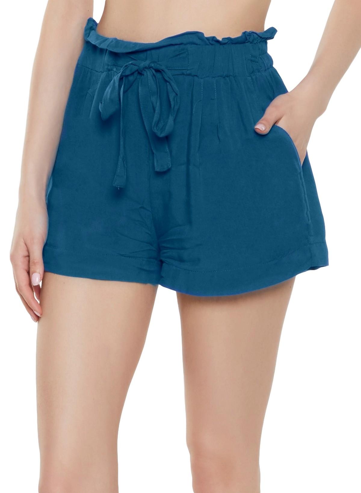 Paperbag Waist Boyfriend Shorts in Sky Blue