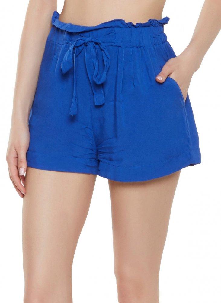 Paperbag Waist Boyfriend Shorts in Turquoise Blue