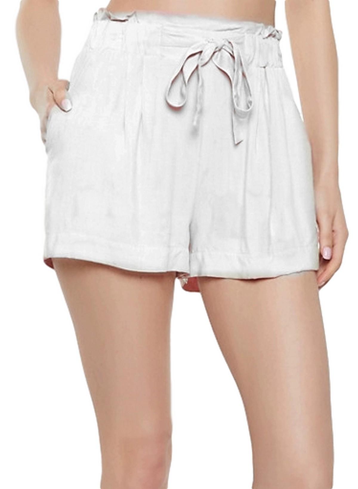 Paperbag Waist Boyfriend Shorts in White