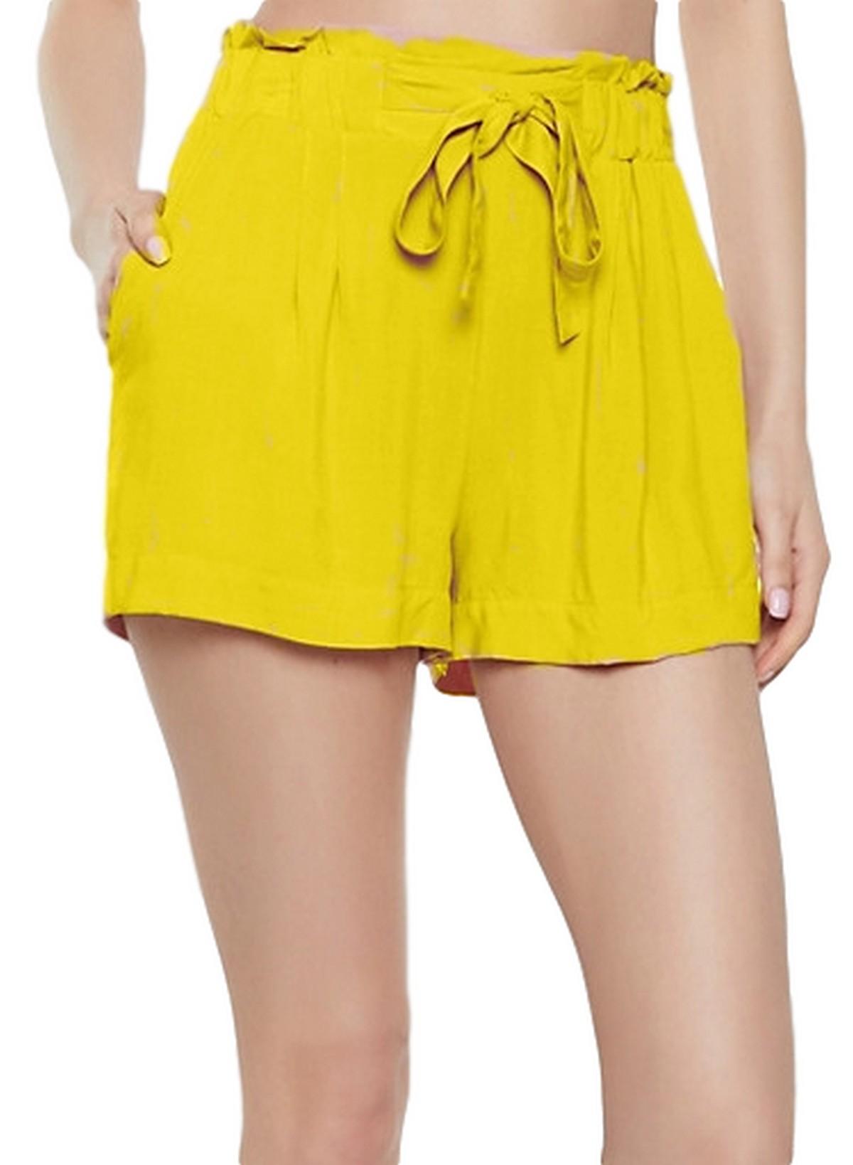 Paperbag Waist Boyfriend Shorts in Yellow